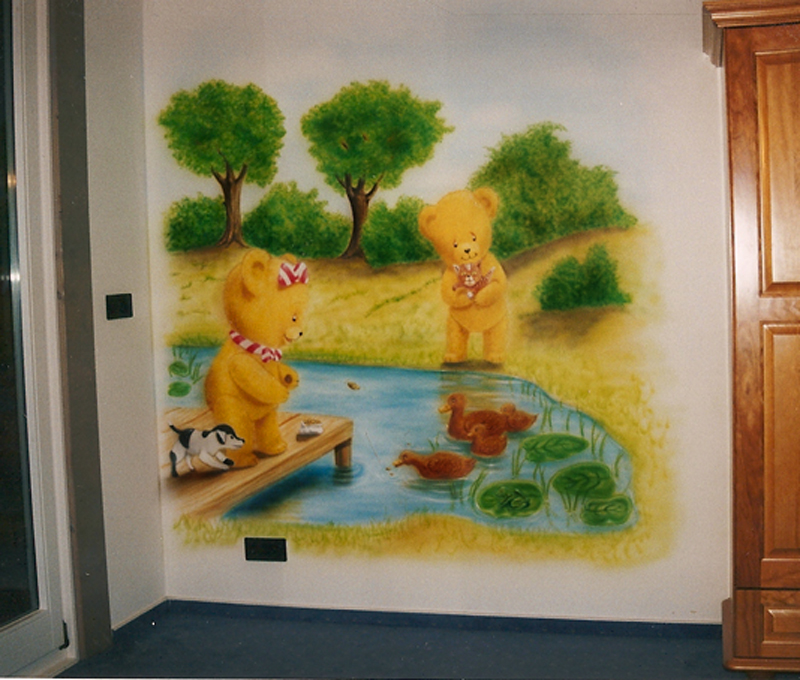 airbrush wandbemalung im kinderzimmer enten und brchen am see - Wandbemalung Kinderzimmer