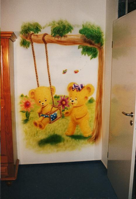 airbrush wandbemalung im kinderzimmer enten und brchen am see airbrush wandbild kinderzimmer - Wandbemalung Kinderzimmer