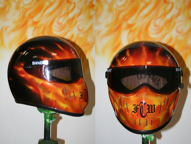 Helme airbrush design flammen